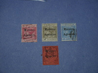 4 X Gibraltar stamps Morocco Agencies