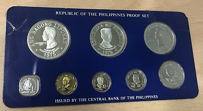 Sc284 Philippines 1975 8 Coin Proof Year Set - 2 Silver Coins