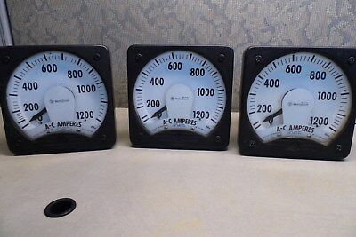 3 USED Westinghouse Ammeter Type KA-241 Style 291B461A29 0-1200 AC Amps