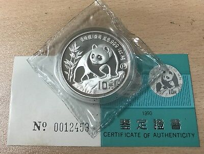 Sc287 China 1990 Silver Proof 1 Oz 10 Yuan Panda Coin - Double Wrapped With Coa