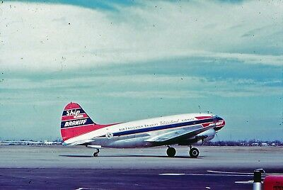 Braniff -Curtiss -C-46 -N1386N -Old Dupe -Kodachrome Slide Aircraft