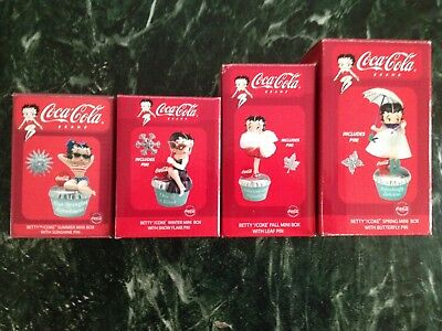 Betty Boop Coca Cola Winter Spring Summer Fall Mini Boxes W/Pin N.I.B. 2004