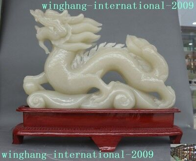 huge Collect China White jade stone carved feng shui Zodiac animal Dragon statue