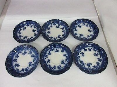 """NEW Wharf Pottery Co.,England-6 """"Flow Blue"""" COFFEE CUP SAUCERS G-313"""