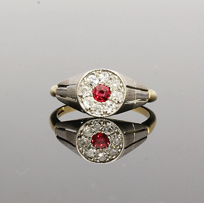 EDWARDIAN /1920s RUBY & DIAMOND CLUSTER RING