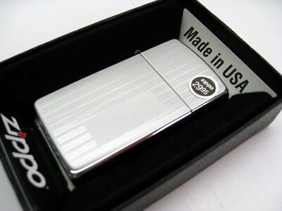 Zippo Slim Size High Polish Chrome Ribbon Lined Pattern Windproof Lighter 1615