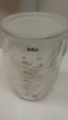 Braun 16 oz. Beaker Measuring Cup with Lid for Immersion Blender Multiquick
