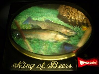 Budweiser Beer 3D Trout Fly Fishing Bubble Light Sign Vintage Bar Advertising NR