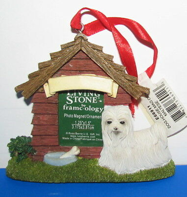 Living Stone MALTESE Dog House Photo Magnet Christmas Ornament Nameplate NWT
