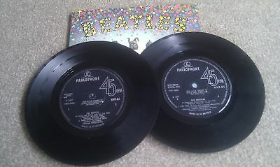 "THE BEATLES Magical Mystery Tour 1967 2x 7"" RARE! Mono Solid Centre Blue Lyrics!"