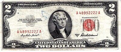 1953 A  TWO DOLLARS  US  , Paper Money  RED SERIES A48992222A