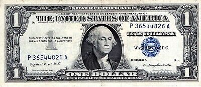 1957 A $ One Dollar United States Silver Certificate Blue Seal P36544826A