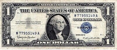 1957 B $ One Dollar United States Silver Certificate Blue Seal W77955149A
