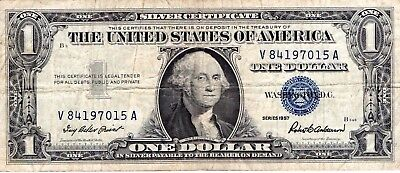 1957  $ One Dollar United States Silver Certificate Blue Seal V84197015A