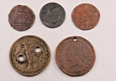 (5) Civil War & Hard Times Token Lot // Low Grade-Cull // (CTL34)