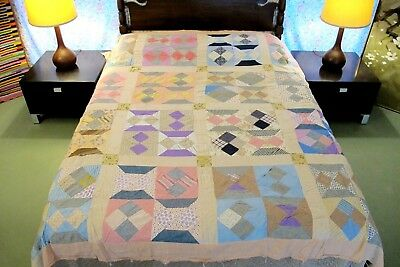 "Vintage Feed Sack & Shirting Cotton CONVENTIONAL BLOCK Quilt TOP; 84"" x 78"""
