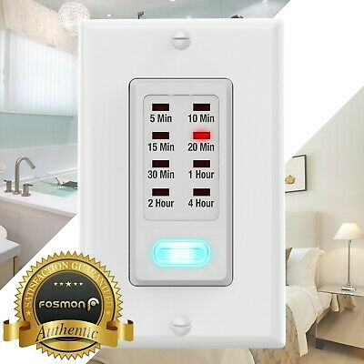 Digital In Wall Countdown Programmable Timer Bathroom Fan Light Switch Min Hour