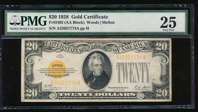 AC Fr 2402 1928 $20 Gold Certificate PMG 25 comment