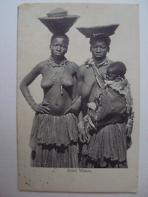 Swazi Women - 1907 - 2 bare-breasted women with baby.