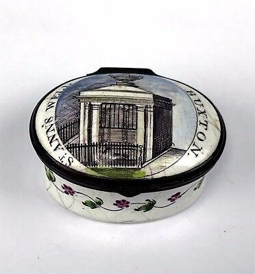 "18thC Battersea Bilston Enamel on Copper Patch Box ""St. Anne's Well Buxton"""