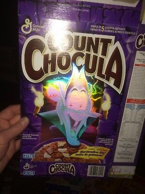 Vintage Count Chocula Cereal 1990's Rare Flat Box  1996 Hologram General Mills