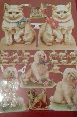 Vintage Style Die Cut  Paper Scraps White Cats And Dogs New