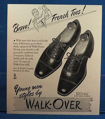 Vintage Magazine Ad Print Design Advertising George Keith Walk Overs Mens Shoes