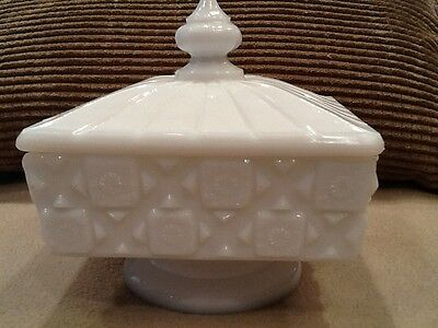 """Westmoreland Milk Glass Old Quilt Square Covered Candy Compote 5""""t Vintage"""