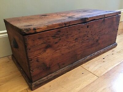 19th Century ANTIQUE PINE CHEST Cup Handles COUNTRY PINE Blanket Box 67x33cm