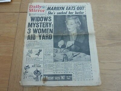 1956 Aug 25 Daily Mirror Newspaper Marilyn Monroe Front Page Original