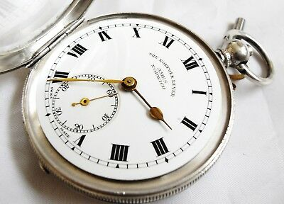 Antique Sterling Silver Gents Pocket Watch with key, Working, 93.3 grams