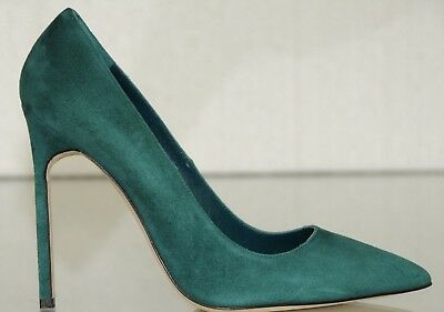 7d4498064c7 New Manolo Blahnik BB 115 Green Suede Shoes Heels Pump 37.5 41.5 RARE HEIGHT