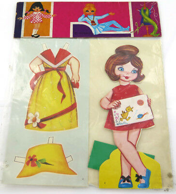 Vintage Malipiero Die Cut Scrap Sheet Paper Doll with Outfit  Italy 1960's