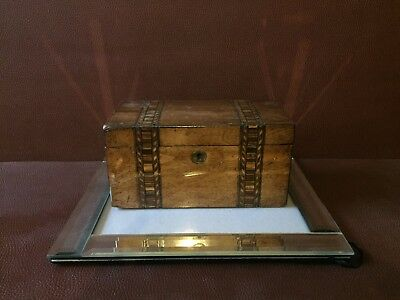 Vintage Marquetry Inlaid Wooden Tea Caddy