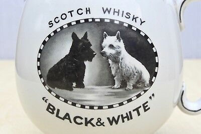 VINTAGE c1930's BLACK & WHITE SCOTCH WHISKY SCOTTY DOGS PICTORIAL PUB WATER JUG
