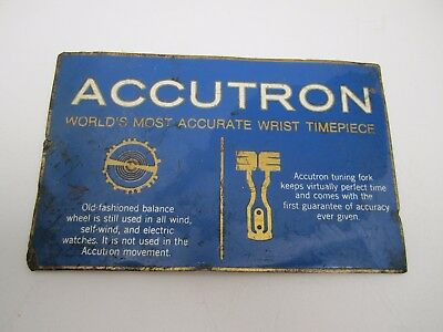 RARE Accutron Wrist Watch Display Sign / Plaque Worlds Most Accurate Timepiece