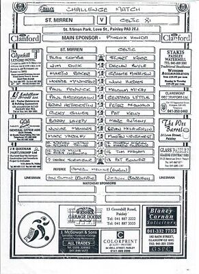 St Mirren v Celtic XI (TEAMSHEET only) - Friendly - undated