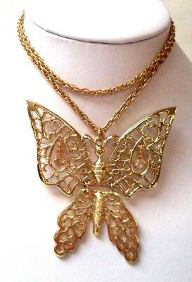 "Stunning Vintage Estate Gold Tone Articulated Butterfly 24 1/2"" Necklace!! 6762Q"