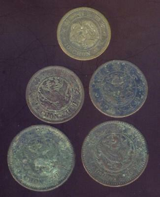 5 Early Korea Coins 1906-1910 Including 1 Silver Coin,  Free USA Shipping