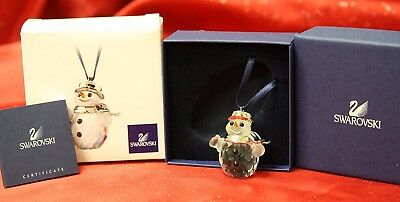 Swarovski Crystal #681337 Snowman Rhodium Christmas Ornament! NIB!