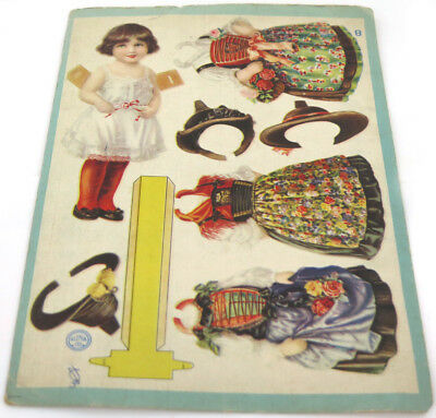 Vintage ALENOL Victorian Die Cut Scrap Sheet Paper Stand-Up Doll