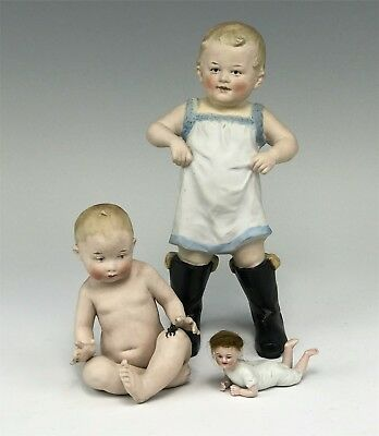 3 German Bisque Piano Babies Rare w/ Black Boots, Crawling w/ Wig & Heubach Baby