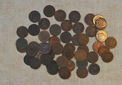 Roll Of 1875 Indian Head Cents - Circulated With Problems - 50 Coins