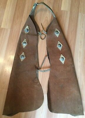 Old Vtg Brown Leather Western Cowboy Rodeo Horseback Ride Equine Leg Strap Chap