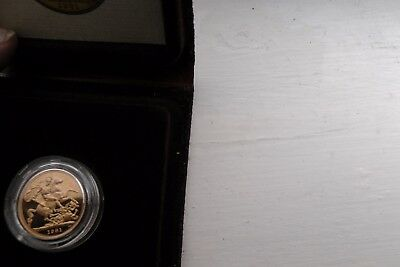 1981 GOLD PROOF 22 carat FULL SOVEREIGN 8g + Box + COA