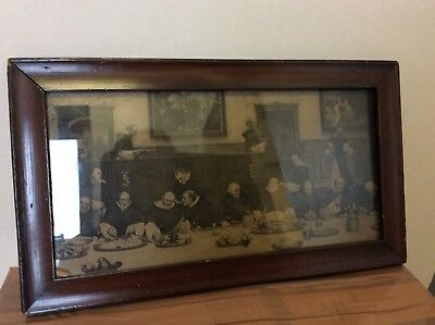 Unusual Old Framed Picture Of Monks Or Religious Men