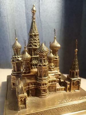 BRONZE Metal St. Basil's Cathedral Moscow souvenir building architectural model