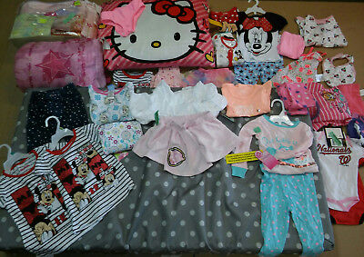 UNUSED Lot of Girls Infant/ Toddler Clothing & Infant Mattress 51 x 27.5 In