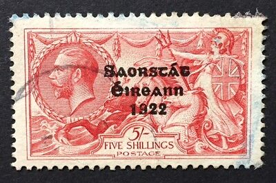 Irish 5s Castle Wide Overprint nice cds used with full perforations (SG 87)