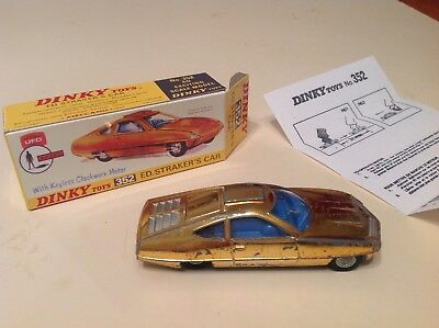 DINKY TOYS 352 UFO Ed Strakers car in gold with Repro box & instructions.